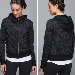 Lululemon Black Leopard Print Zip Up Hoodie Jacket